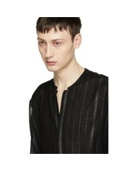 Saint Laurent Black Tunisian Collar Shirt for men