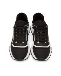 メンズ Prada ブラック And ホワイト ギャバジン ソフト スニーカー Black