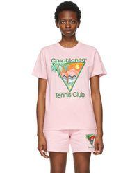 CASABLANCA ピンク Tennis Club T シャツ Pink
