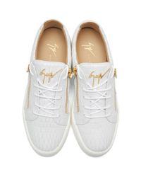 Giuseppe Zanotti - White Croc-embossed London Sneakers for Men - Lyst