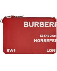 メンズ Burberry レッド Horseferry Print ジップ ポーチ Red