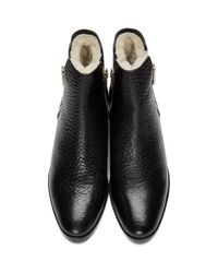 3.1 Phillip Lim - Black Croc-embossed Shearling Alexa Boots - Lyst