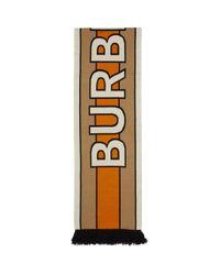 Burberry ベージュand オレンジ カシミア Bb ロング マフラー Natural