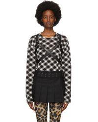 Junya Watanabe ブラック & ホワイト チェック ハーネス T シャツ Black