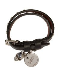 Alexander McQueen - Black And Silver Studded Skull Double Wrap Bracelet - Lyst