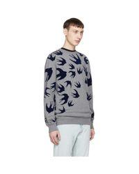 McQ Alexander McQueen Gray Grey Swallow Swarm Clean Sweatshirt for men
