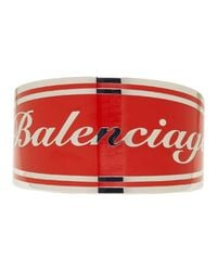 Balenciaga - Red And Silver Badge Bracelet - Lyst