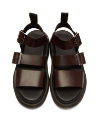 Dr. Martens Black And Brown Charro Gryphon Sandals for men