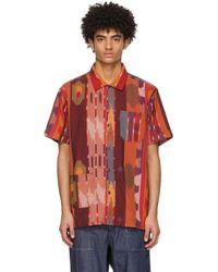 メンズ Engineered Garments バーガンディ & オレンジ Camp ショート スリーブ シャツ Multicolor