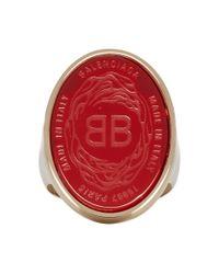 メンズ Balenciaga レッド And ゴールド オーバル シュヴァリエール リング Metallic