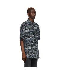 メンズ Balenciaga ブラック And グレー シルク ミックス タイポ シャツ Black