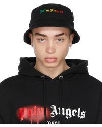 メンズ Palm Angels ブラック Miami ロゴ バケット ハット Black
