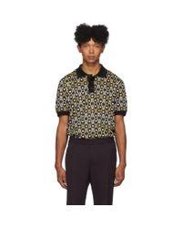 Polo noir et multicolore Geometric Joseph pour homme en coloris Black