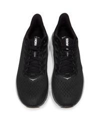 メンズ Hoka One One ブラック And ホワイト Clifton 7 スニーカー Black