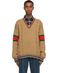 メンズ Gucci タン ケーブル V ネック セーター Natural