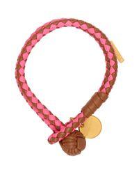 Bottega Veneta Tan And Pink Intrecciato Bracelet
