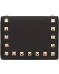 Valentino | Black Small Rockstud French Flap Wallet | Lyst