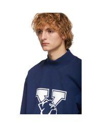メンズ CALVIN KLEIN 205W39NYC ブルー Yale オーバーサイズ モック ネック T シャツ Blue