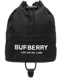 Burberry ブラック エコニール® Drawcord ロゴ ポーチ Black