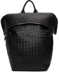 メンズ Bottega Veneta ブラック ナッパ イントレチャート ミディアム バックパック Black
