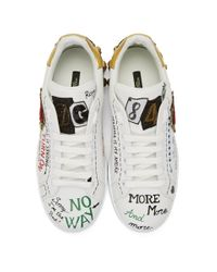 メンズ Dolce & Gabbana ホワイト ハート グラフィティ スニーカー White