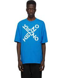 メンズ KENZO ブルー Sport ロゴ T シャツ Blue