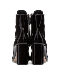 Miu Miu - Black Patent Leather Ankle Boots - Lyst