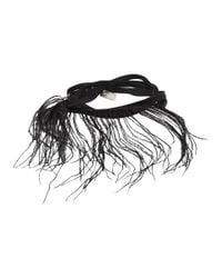 Ann Demeulemeester - Black Feather And Ribbon Bracelet - Lyst