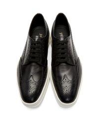 メンズ Prada ブラック And ホワイト プラットフォーム ブローグ Black