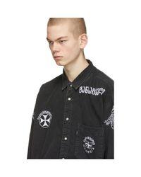 メンズ Vetements Levis Edition ブラック デニム ウェスタン シャツ Black
