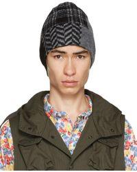 メンズ Engineered Garments ブラック & グレー パッチワーク ビーニー Multicolor