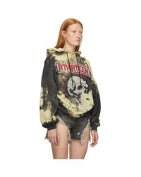 R13 Black And Yellow Oversized Exploited Punk Hoodie