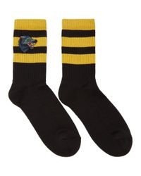 Gucci Black And Yellow Wolf Socks for men