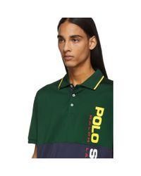 メンズ Polo Ralph Lauren グリーン And ネイビー ストレッチ メッシュ ポロ Green