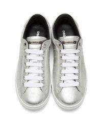 DSquared² Metallic Silver Santa Monica Sneakers for men