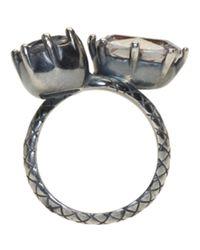 Bottega Veneta - Metallic Gunmetal Double Cubic Zircon Ring - Lyst