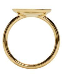Marc Jacobs - Metallic Gold Enamel Logo Disc Ring - Lyst