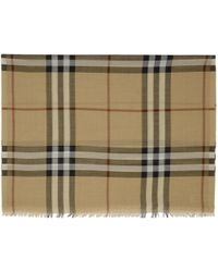 Burberry - Natural Beige Wool And Silk Giant Check Scarf - Lyst