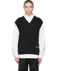 メンズ MASTERMIND WORLD ホワイト & ブラック Boxy Collar スウェットシャツ Black