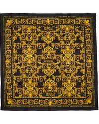Versace Jeans ブラック & ゴールド シルク Baroque ロゴ スカーフ Yellow