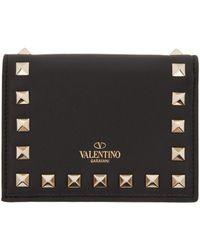 Valentino - Black Small Rockstud French Flap Wallet - Lyst