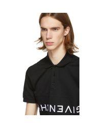 メンズ Givenchy ブラック リバース ロゴ ポロ Black