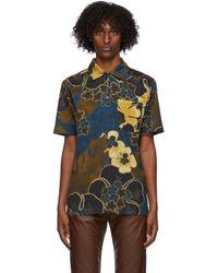 メンズ Dries Van Noten カーキ & ネイビー フローラル ポロシャツ Multicolor