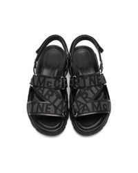 メンズ Stella McCartney ブラック ロゴ ストラップ サンダル Black
