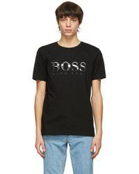 メンズ BOSS by Hugo Boss ブラック Photographic ロゴ T シャツ Black