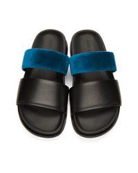 メンズ Haider Ackermann ブラック And ブルー ストラップ サンダル Blue