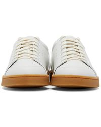 Loewe - White Leather Low-Top Sneakers - Lyst