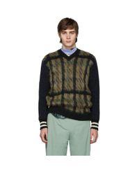 Pull en laine a col en V et carreaux kaki et bleu marine Junya Watanabe pour homme en coloris Multicolor