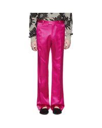 メンズ Dries Van Noten ピンク ビスコース トラウザーズ Pink