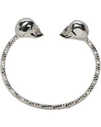 Alexander McQueen - Metallic Silver Twin Skull Bracelet - Lyst